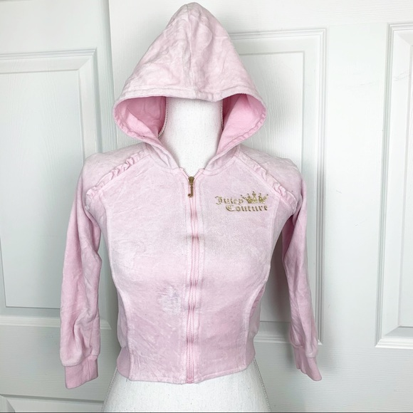 Juicy Couture Other - Juicy Couture Velvet Girls Pink Zip Up Sweater